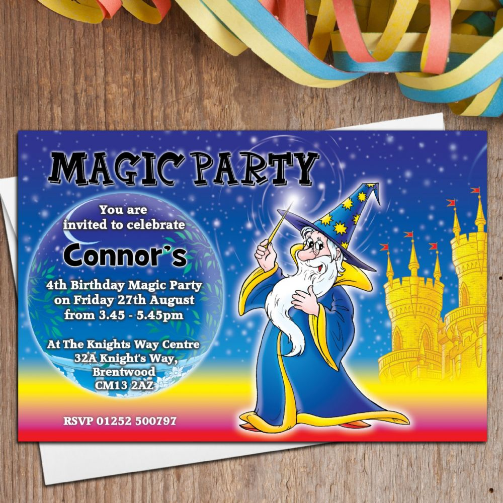10 Personalised Magic Magician Birthday Party Invitations N1